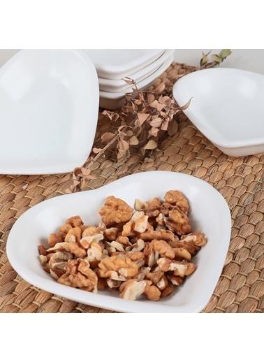 Keramika Keramika Mat Beyaz Kalp Çerezlik/Sosluk 14 Cm 6 Parça Renkli